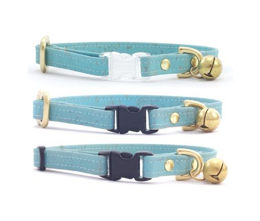 Turquoise Blue Vegan Cork 'Leather' Breakaway Safety Cat Collar With Solid Brass Bell