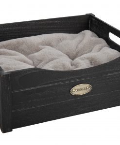 Rustic Wooden Cat Bed Charcoal