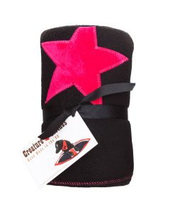 Fur Friend Fleecy Star Cat Blanket Pink On Black