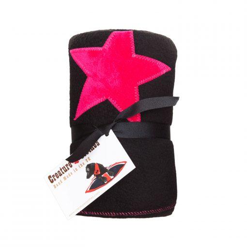 Fur Friend Fleecy Star Cat Blanket Pink On Black