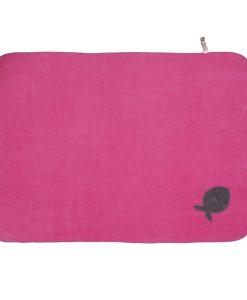 Fur Friend Fleecy Fish Cat Blanket Grey on Pink