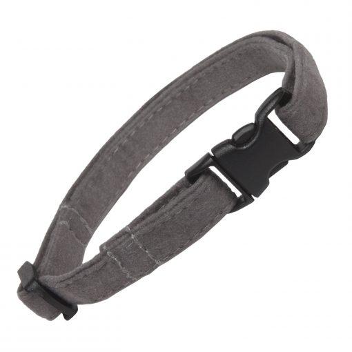 Grey Faux Suede Cat Collar