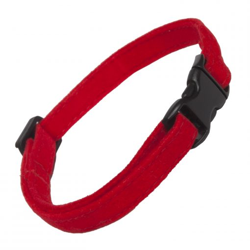 Red Faux Suede Cat Collar