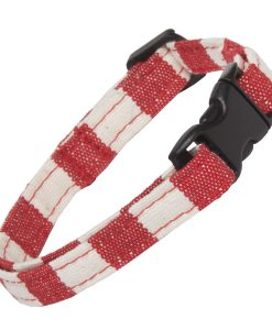 Red and White Stripe Cat Collar