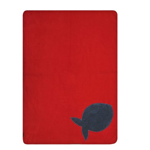 Fur Friend Fleecy Fish Cat Blanket Grey On Red