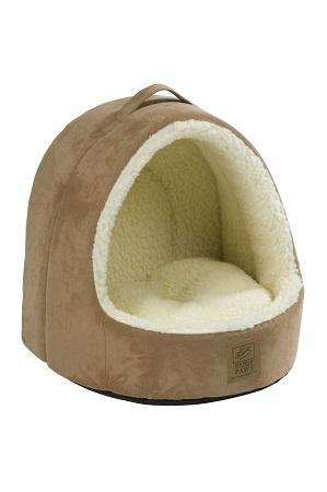 Hooded Tan Suede & Sheepskin Cat Bed by House of Paws
