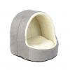 Hooded Grey Suede & Sheepskin Cat Bed by House of Paws