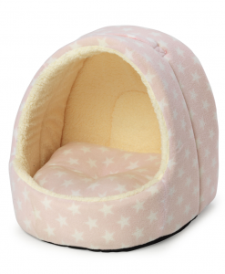 Hooded Pink Star Cat Bed by House of Paws