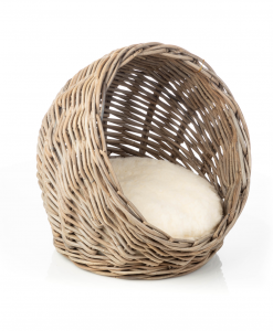 Rattan Cat Basket With Pillow by House of Paws