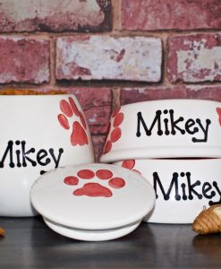 Personalised Ceramic Paw Print Cat Bowls & Treat Jar Set
