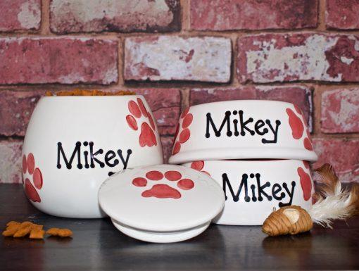 Personalised Ceramic Paw Print Cat Bowls & Treat Jar Set