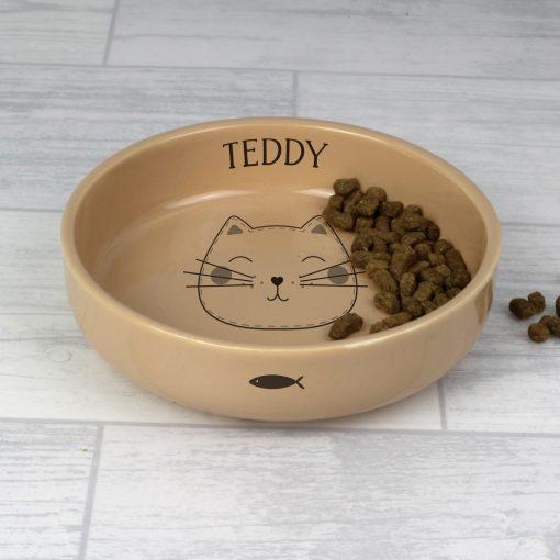 Personalised Cute Cat Small Ceramic Brown Pet Bowl