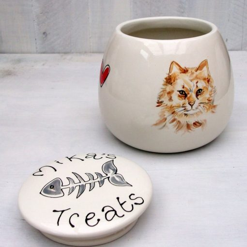 Personalised Treat Jar with Portrait of your Cat