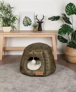 Knightsbridge Cat Cave Bed - Olive
