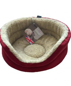 Red Fleece Oval Snuggle Cat Bed