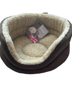 Brown Fleece Oval Snuggle Cat Bed