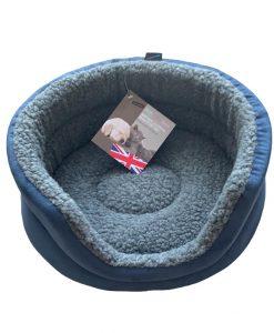 Blue Fleece Oval Snuggle Cat Bed