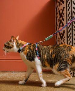 Mud Cloth Vegan Cat Harness